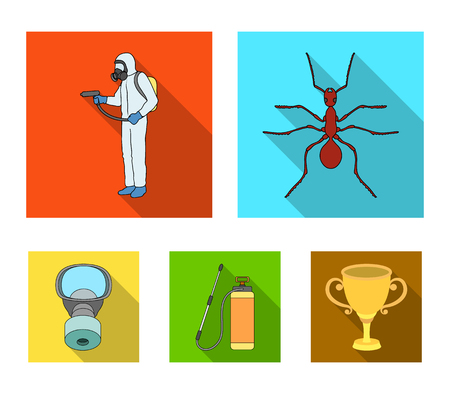 Ant, staff in overalls and equipment flat icons in set collection for design. Pest control service. Vector symbol stock web illustration.