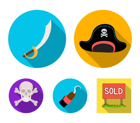 Pirate, bandit, cap, hook .Pirates set collection icons in flat style. Vector symbol stock illustration web. Stok Fotoğraf - 95526978