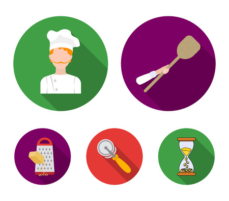 Pizza and pizzeria set collection icons in flat style vector symbol stock illustration web.