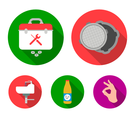 A sewer hatch, a tool box, a wash basin and other equipment.Plumbing set collection icons in flat style vector symbol stock illustration web. Illustration