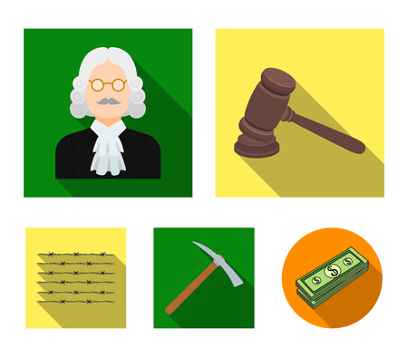 Judge, wooden hammer, barbed wire, pickaxe. Prison set collection icons in flat style vector symbol stock illustration web. Illustration