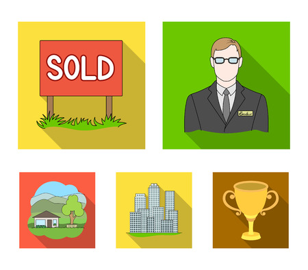 Employee of the agency, sold, metropolis, country house. Realtor set collection icons in flat style vector symbol stock illustration web.