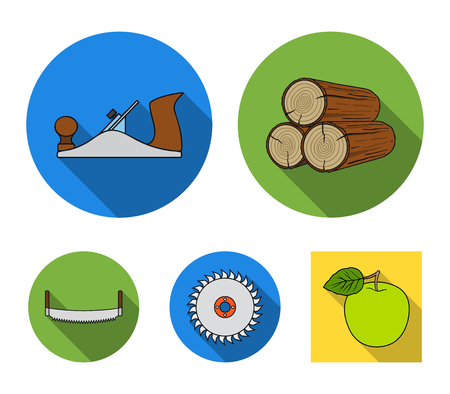 Logs in stacks, two-handed saws, circular saw. Sawmill and timber set collection icons in flat style vector symbol stock illustration web.
