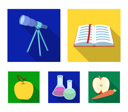 An open book with a bookmark, a telescope, flasks with reagents, a red apple. Schools and education set collection icons in flat style vector symbol stock illustration web.