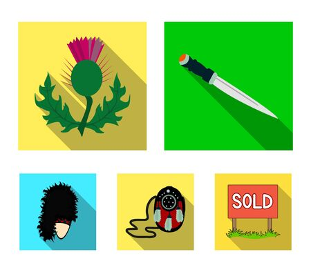 National Dirk Dagger, Thistle National Symbol, Sporran,glengarry.Scotland set collection icons in flat style vector symbol stock illustration web.