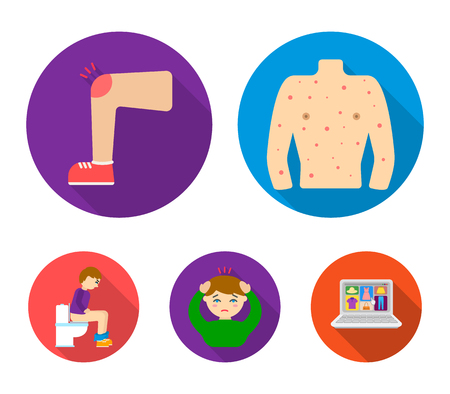 Body and foot itch set collection icons in flat style vector symbol stock illustration web. Çizim