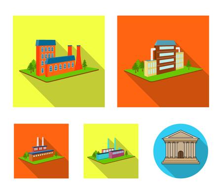 Verwerkingsfabriek, metallurgische fabriek. Fabriek en industrie instellen collectie iconen in vlakke stijl isometrische vector symbool stock illustratie web.