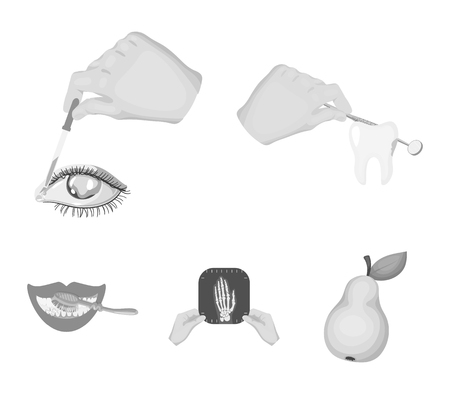 Examination of the tooth, instillation of the eye and other web icon in monochrome style. A snapshot of the hand, teeth cleaning icons in set collection. Illustration