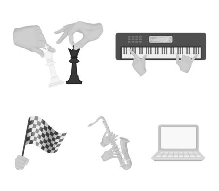 Playing on an electric musical instrument, manipulation with chess pieces and other web icon in monochrome style. playing on a gold saxophone, checkered flag of auto racing in hand icons in set collection.