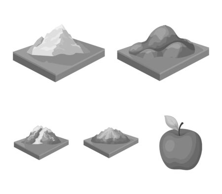 Mountains, rocks and landscape set collection in monochrome style and an apple Illustration
