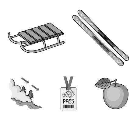 Ski, sled, lifeguard badge, badge avalanche. Ski resort set collection icons in monochrome style vector symbol stock illustration web.