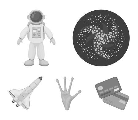 The aliens hand, the space shuttle ship Space Shuttle, the astronaut in the spacesuit, the black hole with the stars. Space set collection icons in monochrome style vector symbol stock illustration web.