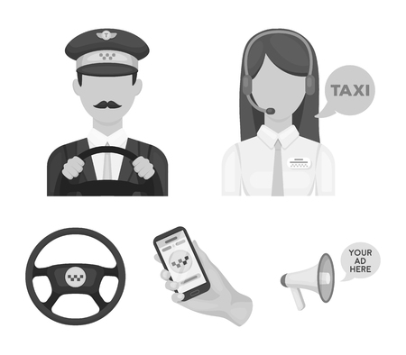 A taxi driver with a microphone, a taxi driver at the wheel, a cell phone with a number, a car steering wheel. Taxi set collection icons in monochrome style vector symbol stock illustration web. Vectores