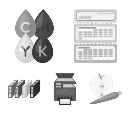 Calendar, drops of paint, cartridge, multifunction printer. Typography set collection icons in monochrome style vector symbol stock illustration web.