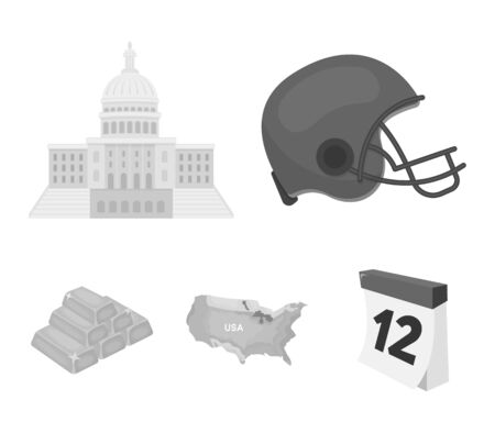 Football players helmet, capitol, territory map, gold and foreign exchange. USA  country set collection icons in monochrome style vector symbol stock illustration web.