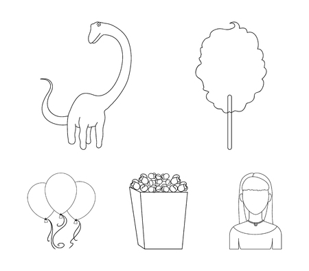 Sweet cotton wool on a stick, a toy dragon, popcorn in a box, colorful balloons on a string. Amusement park set collection icons in outline style vector symbol stock illustration web. Archivio Fotografico - 95622485