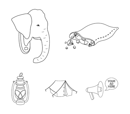 A bag of diamonds, an elephants head, a kerosene lamp, a tent. African safari set collection icons in outline style vector symbol stock illustration web.