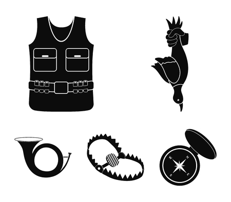 A trophy in his hand, a steel trap, a hunting vest with patronage, a horn..Hunting set collection icons in black style vector symbol stock illustration web.