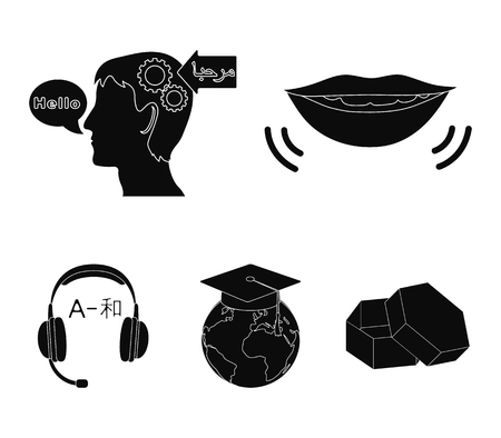 The mouth of the person speaking, the persons head translating the text, the globe with the masters cap, the headphones with the translation. Interpreter and translator set collection icons in black style vector symbol stock illustration web.