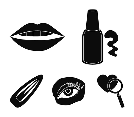 Nail polish, tinted eyelashes, lips with lipstick, hair clip.Makeup set collection icons in black style vector symbol stock illustration web. Illusztráció