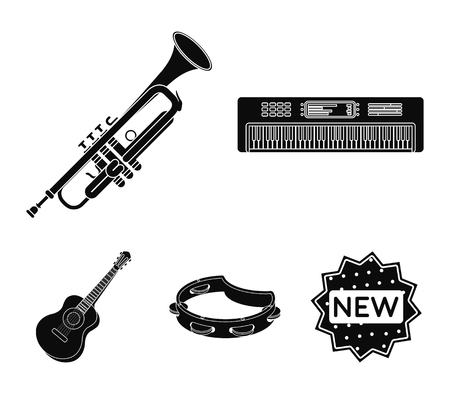 Electro organ, trumpet, tambourine, string guitar. Musical instruments set collection icons in black style vector symbol stock illustration web.
