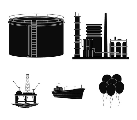 Oil refinery, tank, tanker, tower. Oil set collection icons in black style vector symbol stock illustration web.