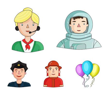 Las personas de diferentes profesiones establecen web de ilustración de stock de símbolo de vector de estilo de iconos de colección.