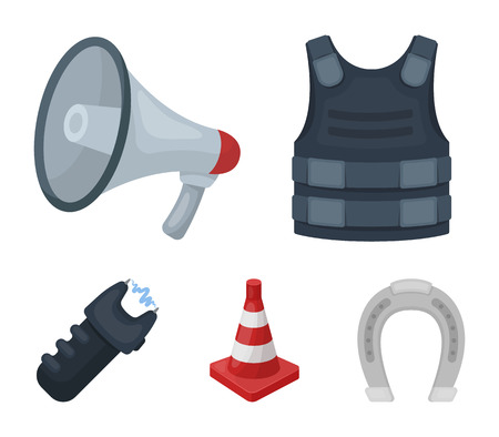 Bulletproof vest, megaphone, cone of fencing, electric shock. Police set collection icons in cartoon style vector symbol stock illustration web. Иллюстрация