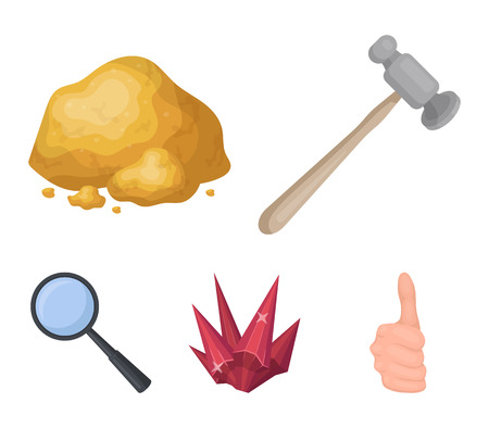 A jewelers hammer, a magnifier, a copper ore, a crystal. Precious minerals and a jeweler set collection icons in cartoon style vector symbol stock illustration web.