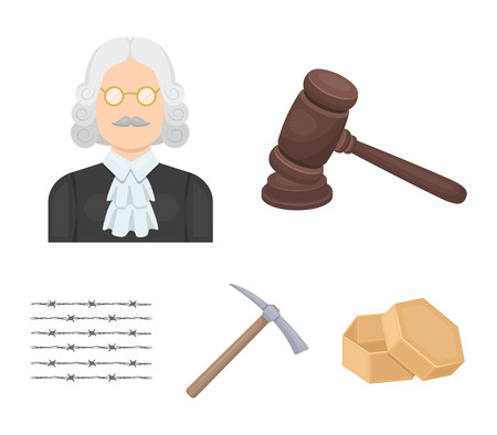 Judge, wooden hammer, barbed wire, pickaxe. Prison set collection icons in cartoon style vector symbol stock illustration web.
