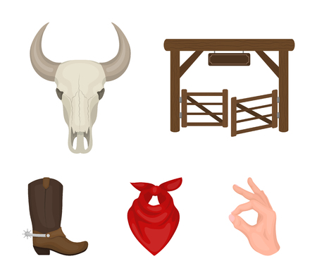 Rodeo symbol elements set collection icons in cartoon style vector stock illustration web. Vectores