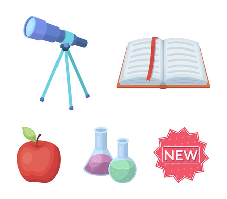 An open book with a bookmark, a telescope, flasks with reagents, a red apple. Schools and education set collection icons in cartoon style vector symbol stock illustration web.