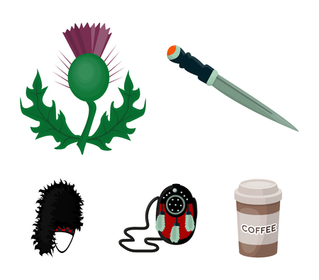 National Dirk Dagger, Thistle National Symbol, Sporran,glengarry.Scotland set collection icons in cartoon style vector symbol stock illustration web.