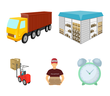 Logistics and fast food delivery set collection icons in cartoon style isometric vector symbol stock illustration web.