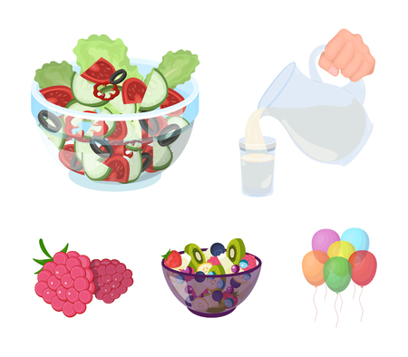 Fruit, vegetable salad and other types of food. Food set collection icons in cartoon style vector symbol stock illustration web.
