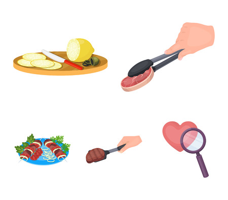 Tongs with steak, fried meat on a scoop, slicing lemon and olives, shish kebab on a plate with vegetables. Food and Cooking set collection icons in cartoon style vector symbol stock illustration web. Illustration