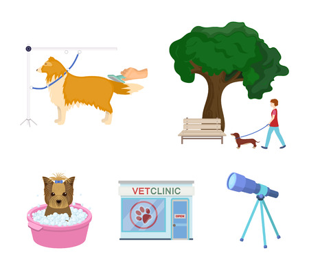 Vet clinic and pet care set collection icons in cartoon style vector symbol stock illustration web.