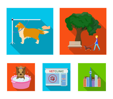 Vet clinic and pet care set collection icons and other in flat style vector symbol stock illustration web. Vettoriali