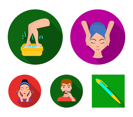 Skin Care  and beauty spa symbol set collection icons in flat style vector stock illustration web.