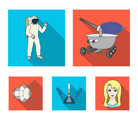 Space technology set collection icons and woman  in flat style vector symbol stock illustration web.
