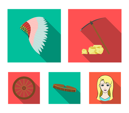 Pickaxe and stones, bandolier, cartwheel, mohawk.Wild west set collection icons in flat style vector symbol stock illustration web.