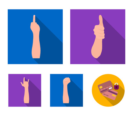 Sign Language flat icons in set collection for design.Emotional part of communication vector symbol stock web illustration.