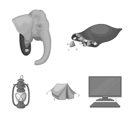 A bag of diamonds, an elephants head, a kerosene lamp, a tent. African safari set collection icons in monochrome style vector symbol stock illustration web. Ilustracja
