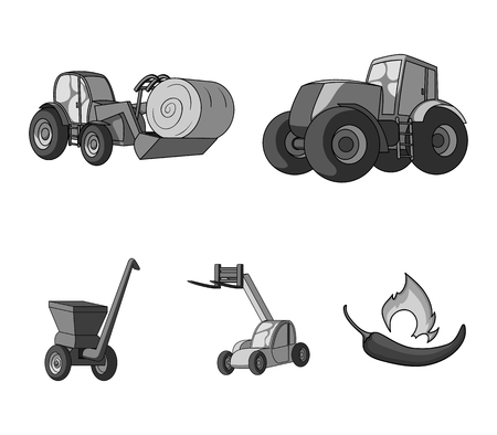 Tractor, hay balancer and other agricultural devices. Agricultural machinery set collection icons in monochrome style vector symbol stock illustration web.