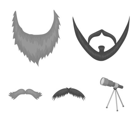 Mustache and beard, hairstyles monochrome icons in set collection for design. Stylish haircut vector symbol stock web illustration. Illustration