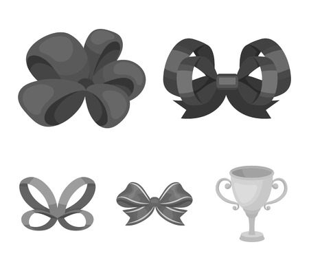 Ornamentals, frippery, finery and other web icon in monochrome style.Bow, ribbon, decoration, icons in set collection. Vettoriali