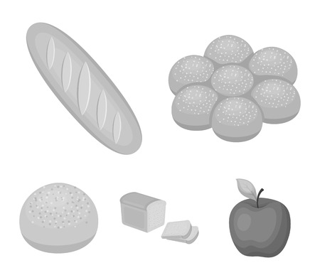 Cut loaf, bread roll with powder, half of bread, baking illustration.Bread set collection icons in monochrome style vector symbol stock illustration web.