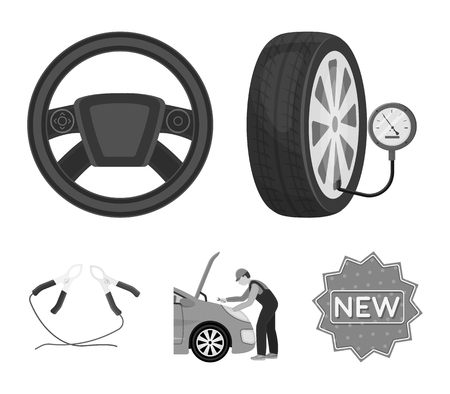 Engine adjustment, steering wheel, clamp and wheel monochrome icons in set collection for design.Car maintenance station vector symbol stock illustration web. Illustration