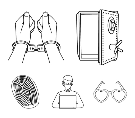 Opened safe, handcuffs on the hands, a hacker, a fingerprint illustration. Crime set collection icons in outline style vector symbol stock illustration web.