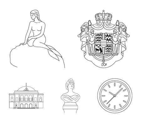 National, symbol, drawing, and other web icon in outline style illustration. Denmark, attributes, style, icons in set collection.